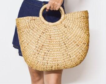 Beach bag •  Straw bag •  Weaving seagrass • straw handbag • top handle bag • handmade bag • boho bag • straw purse from Thailand #09