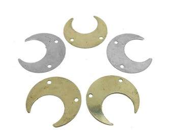 Crescent Double Drilled Pendant - Brass Crescent Stamping Blank (S41B16b)