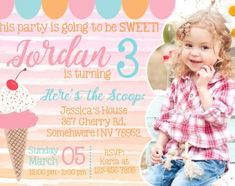 Ice Cream Social Party Invitation with Photo! Digital File. Print at Home.