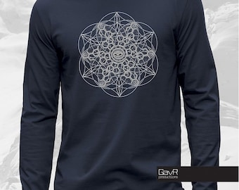 Sacred geometry long sleeve for Men shirt, Psychedelic , Burning Man Shirt, psy fashion, visionary, trippy, geometric spiritual
