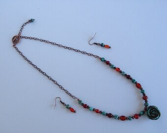 Turquoise Cinnabar Rose Necklace Set