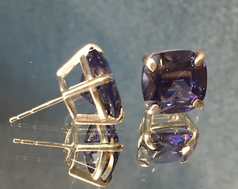 Sterling Silver Dark Tanzanite CZ Cushion Cut Earrings (EA48)