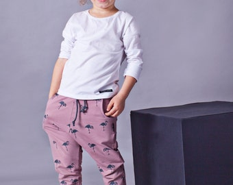 Handmade kids trousers FLAMINGOS. Toddler pants. Pink pants. Girl pants. Cotton clothes. Made in Poland.