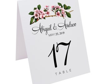 Pink Cherry Blossoms Wedding and Special Event Table Numbers
