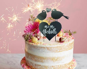 Personalised Wedding Mr & Mrs Cake Topper - Lovebirds Design - Your Surname + Date -  Silver Mirrored Finish - Table Decoration Favour L1164