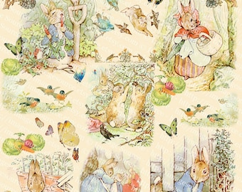 Peter Rabbit Collection Digital Collage Sheet, Beatrix Potters Art Illustrations, Instant Download, Vintage Printables