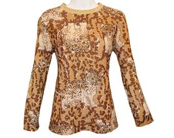 Vintage Cat Shirt, Leopard Cub, Metallic Gold, Vintage 1970s