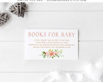 Please Bring a Book, Instead of a Card Insert, Pink Gold Baby Shower, Book Request Card, Printable, Instant Download Baby Shower [527]