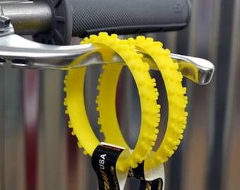SET OF FIVE yellow knobby dirt bike tire wrist band