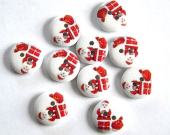 10 Painted Wooden Santa Buttons - Father Christmas