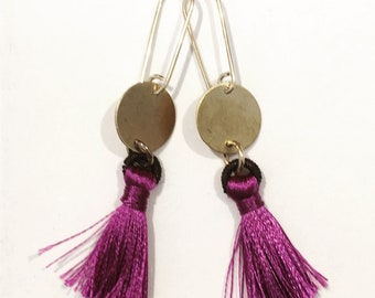 Gold Violet Tassel Earrings Ultraviolet