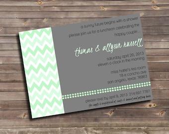 chevron wedding shower custom printable invitation