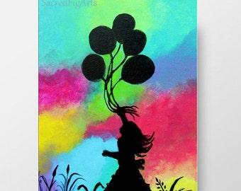Mädchen Malerei, Helle Wandkunst, Mehrfarbige Kinderzimmer Dekor,  Kinderzimmer Ballons, 8 X 10, Kleine Glücklich Kunstwerk, Fertig Zum  Aufhängen Der ...