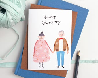 Anniversary Card for Couples - Happy Anniversary card, love card, anniversary card for him, anniversary card for her Katy Pillinger Designs
