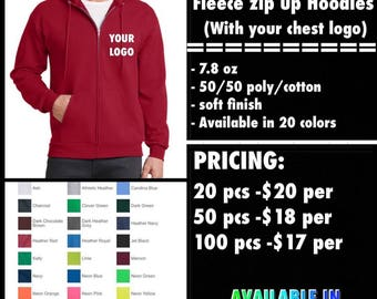 Port and Co Full Zip Hoodies ( with chest logo Embroidered )