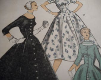 Vintage 1950's Advance 6618 Dress or Redingote Sewing Pattern Size 12 Bust 30