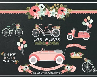 Pink Wedding Clipart | Wedding Car | Just Married Car | Vintage Bicycle Clipart | Scooter Clipart | Balloon Clipart | Save the Date