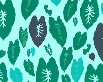 SALE Fabric, Conservatory by Heather Jones, Garden, AHN-16639-238, Tropical Leaf Fabric, Aqua and Teal Fabric, Green Leaf Fabric