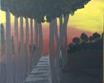 Original Acrylic on Canvas Board: Wooded Path