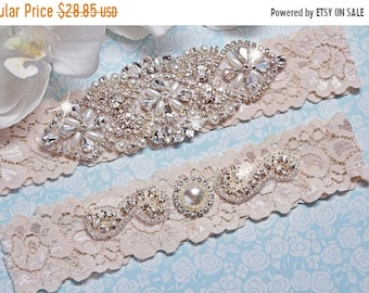 ON SALE Wedding Garter Set - Rhinestone Bridal Garter - Wedding Garter Belt - Keepsake Garter - Toss Garter - Ivory Pearl Garter - Toss Gart