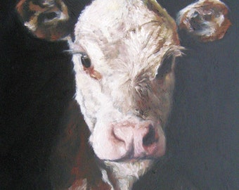 Hereford Calf original Oil Painting, Vermont country art, Archival PRINT of original painting & Free Shipping!