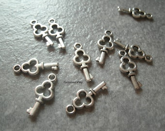 BA1) set of 10 small acrylic 3D key charms silver plated 16 mm