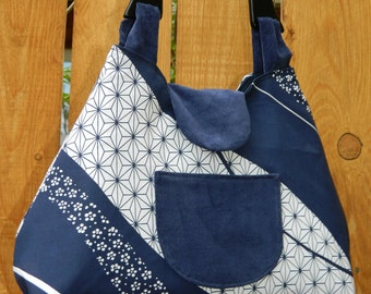 Navy Peony Blue and White Starry Swirl Coquette Collection Retro Style Handbag with Wooden Handle and Snap Closure