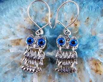 owls silver earrings, owls earrings, owl earrings, greek earrings, greek jewelry, Athena earrings, goddess jewelry, goddess earrings, greek