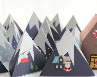 Advent Calendar - Mountain Range - Countdown to Christmas – Printable PDF File - A4