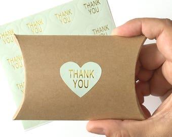 16 thank you stickers - mint heart sticker - thank you label - wedding favor sticker - wedding favors - gold foil sticker - envelope seals