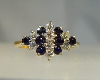 Vintage 18 ct hallmarked Diamond and Sapphire ring