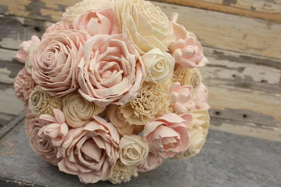 wooden flowers wedding bouquets blush wedding bouquet brides pink sola flower bouquet sola 1486