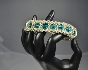 Byzantine Square Emerald Tone Glass Bead Bracelet - Handmade Argentium® Sterling Silver