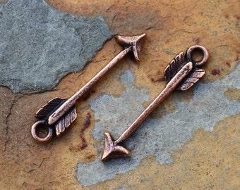 2 Antique Copper Arrow Charm  - 24 x 5.7mm  Nunn Designs LOW SHIPPING