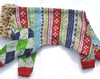 "Dog Pajamas. ""Ugly Christmas Sweater II"" - Italian Greyhound and small dog sizes"