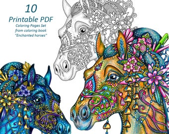 """10 Printable PDF Coloring Pages Set from coloring book """"Enchanted horses"""" for colouring and relaxation"""
