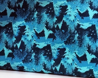 Camo Woodsy Turquoise Blue Print Woven Cotton Fabric by the Yard, Urban Boundary by Michael Miller Dress Fabric, Quilting, Textile