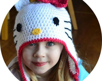Instant Download - Crochet Pattern - Hello Kitty Hat (English)