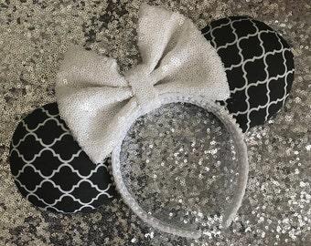 Black and White Trellis Print Mickey / Minnie Mouse Ears