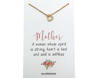Mom Gift, Mother Necklace, tiny open heart necklace, simple floating heart charm necklace, carded necklace gift with message for mothers