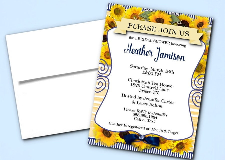 Printed Party Invitations Sunflowers Navy & Yellow Invite