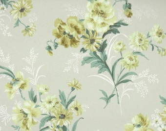 1940s Vintage Wallpaper by the Yard - Yellow Flowers on Gray, Floral Wallpaper