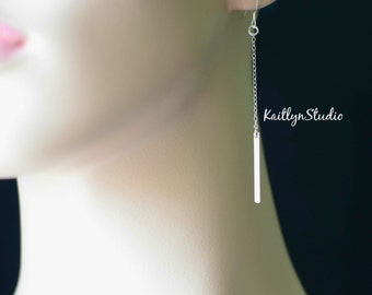 Vertical Bar Earring, Sterling Silver, Thin Bar Earring, Minimal Skinny Bar Earring, Delicate Earring, Blank Bar Charm, Long Dangle Earring