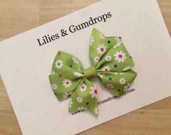 Lime Green Hair Bow - Green Flower Hair Clip - Green and White Flower Pinwheel Hair Bow
