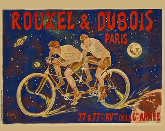 French Bicycle Poster - Cyclists - Vintage Bike Poster - Bicyclist in Tandem - Celestial Poster - Rouxel & Dubois - Vintage Decor