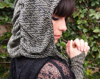 SALE! The Hatchi Knit Ruched Hood in Sage Green or Charcoal Gray and Black by Opal Moon Designs (One Size Fits all)