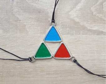 legend of zelda inspired triforce piece, courage power wisdom kokiri zora goron triforce triangle necklace, coloured triforce tirangle loz