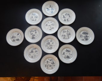 RESERVED FOR ALLEN 12 French Antique Rebus Plates Blue and White  c.1836  Old and Rare