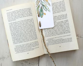 Bookmark Watercolor, handmade, paper bookmarks, custom bookmarks, olive-Favors