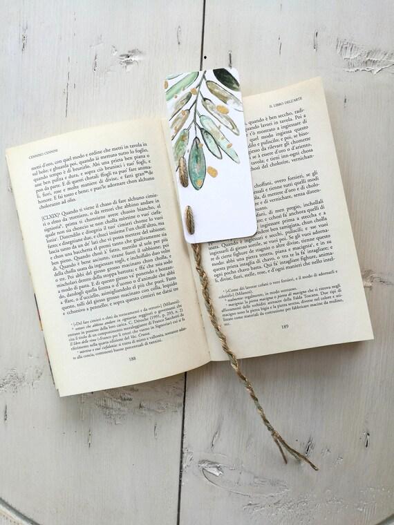 Bookmark Watercolor, handmade, paper bookmarks, custom bookmarks, olive-Favors